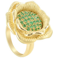Gold over 925 Sterling Silver Emerald Gemstone Vermeil Flower Ring