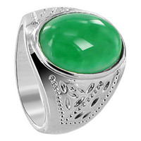 Men's Silver Plated on Copper Oval Green Gemstone Ring #PNR004