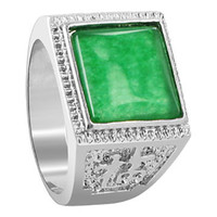 Men's Silver Plated Green Gemstone 13mm Square Shape Ring #PNR005