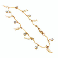 Gold Layered Clear Glass Beads with Fish Shapes 10 Inch Long Ankle Bracelet