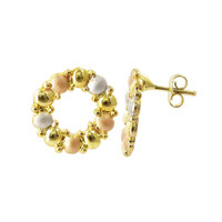 18k Gold Layered 16mm Round Three Tone Finish Post Back Stud Earrings #HOER013