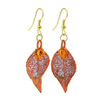 Iridescent Copper Plated REAL 1.2 x 0.6 inch Evergreen Leaf French Wire Dangle Earrings #LGEC001
