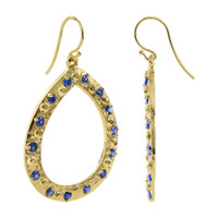 18K Gold Vermeil Round 2mm Blue Quartz 18k Teardrop Earrings