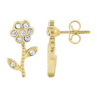18k Gold Layered Round Clear Cubic Zirconia Flower and Stem Post Back Drop Earrings