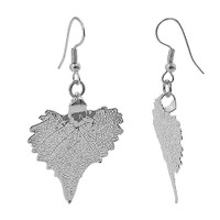 Silver Plated 1.3 x 1.4 inch Cottonwood Leaf French Hook Drop Earrings #LGEC010