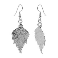 Silver Plated 0.8 x 1.3 inch Real Birch Leaf French Hook Drop Earrings #LGEC015