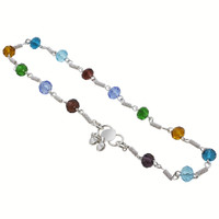 Silver Tone Multicolor Simulated 6mm Beads 10.5 Inch Long Ankle Bracelet