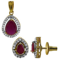 Gold Plated Ruby CZ Faceted Teardrop Shape Bollywood Indian Earrings Pendant Jewelry Set
