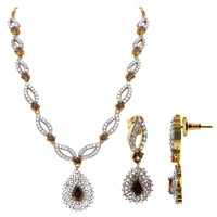 Gold Plated Simulated Lavender with CZ Earrings 15 to 17 inch Adjustable Bollywood Indian Necklace Jewelry Set