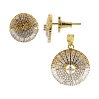 Gold Plated 2 tone Round Sparkling Glass and Rhinestones Earrings Pendant Set #JS121