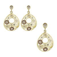 Gold Layered Pear Floral White and Purple Enamel with Simulated Stones Earrings Pendant Set #MIST001