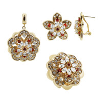 Gold Plated Floral Design with Clear and Red Glass Stones Earrings Pendant and Ring Set #JGST005