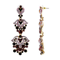 Gold Tone Ornamental Design Clear Purple Rhinestones and Glass Post Back Dangle Earrings