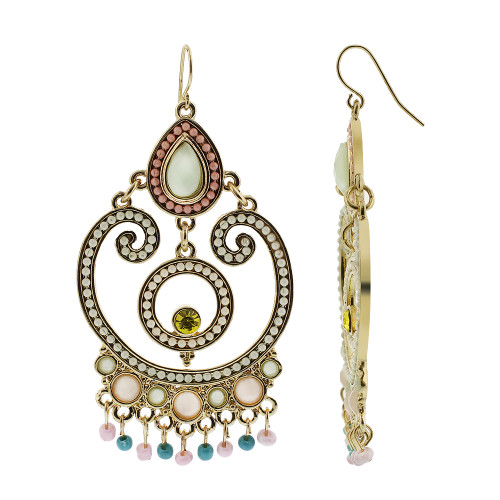 Gold Tone Ornamental Design Resin Beads and Glass French Hook Chandelier Earrings