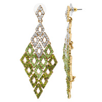 Gold Tone Diamond-Shape with Clear and Green Rhinestones Post Back Dangle Earrings #CCER077