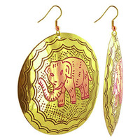Elephant Drawing Engraved with Disk Fashion Drop Earrings #SBE009