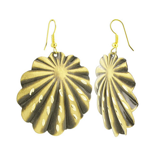 Gold Tone 1.6 inch Diamond Designer Shell 1.6 inch French Wire Findings Fashion Drop Earrings