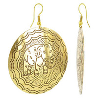 "Gold Tone Round 1.9"" Elephant Designer French Hook Brass Drop Earrings"