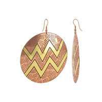 2.4 inch Round Zig - Zag Designer French Hook Brass Dangle Earrings