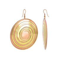 2.4 inch Round Designer French Hook Dangle Earrings in Brass