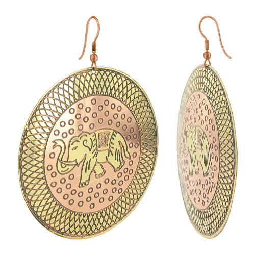 2.4 inch Round Elephant Designer Fashion Dangle Earrings with French Wire Findings