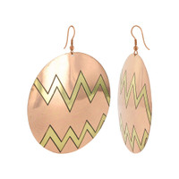 Round Zig - Zag Designer Fashion French Hook Brass Earrings