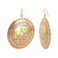 2.4 inch Elephant Designer Fashion French Hook Brass Earrings