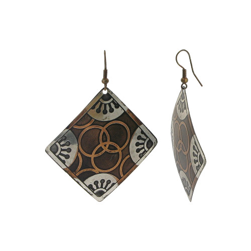 2 inch Square Designer Fashion Dangle Earrings with French Wire Findings