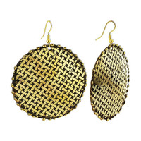 2.1 inch Round Gold Tone Basket Weave Design Fashion Dangle French Wire Earrings #SBE070