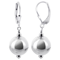 925 Sterling Silver Shiny Ball Leverback Drop Earrings #bder015