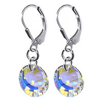 925 Sterling Silver Made with Swarovski Elements Clear AB Crystal Disc Handmade Drop Earrings #scer020