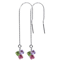 925 Sterling Silver Made with Swarovski Elements Green Pink and Lavender Color Crystal Threader String Handmade Dangle Earrings #scer021