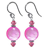 925 Sterling Silver 10mm Pink Mother of Pearl and Made with Swarovski Elements Crystal Handmade Drop Earrings #scer088
