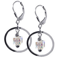 925 Sterling Silver Made with Swarovski Elements Clear Cube Crystal Dangling on a Circle Handmade Leverback Drop Earrings