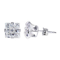 Sterling Silver 7mm Square Clear CZ Stud Earrings #se-sql-7m