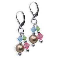 925 Sterling Silver Made with Swarovski Elements Bronze Faux Pearl and Blue Green Pink Crystal Handmade Leverback Drop Earrings #SCER117