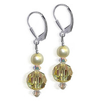 925 Sterling Silver Made with Swarovski Elements Faux Pearl and Colorado Crystal Handmade Leverback Drop Earrings