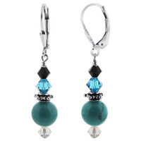 Sterling Silver Reconstituted Turquoise s Blue and Black Crystal Handmade Leverback Drop Earrings