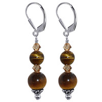 925 Sterling Silver Tiger Eye Gemstone Made with Swarovski Elements Smoked Topaz Color Crystal Leverback Drop Earrings