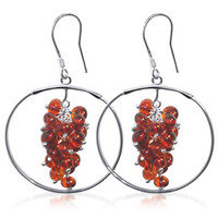 925 Sterling Silver Amber Cluster Style Dangling on a Circle Drop Earrings