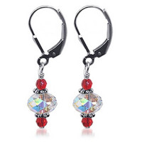 925 Sterling Silver Made with Swarovski Elements Red and Clear Crystal Handmade Leverback Drop Earrings
