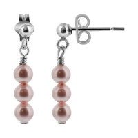 925 Sterling Silver Made with Swarovski Elements Pink Imitation Pearl Handmade Post-Back Drop Earrings #BDES007