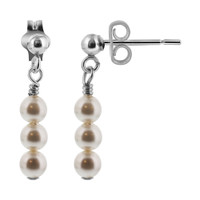"Sterling Silver Swarovski Pearl Elements Post Back 1"" Dangle Earrings"