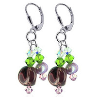 925 Sterling Silver Made with Swarovski Elements Freshwater Pearl and Green Pink Clear Crystal Handmade Leverback Drop Earrings