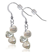 925 Sterling Silver Made with Swarovski Elements Nugget Pearl Handmade Drop Earrings #BDES010