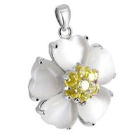 Sterling Silver Yellow Cubic Zirconia Pearl Flower Pendant