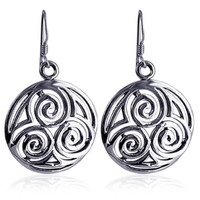 925 Plain Sterling Silver Filigree Circle French Hook Drop Earrings #LWES008