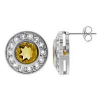 Sterling Silver Citrine and Topaz accents 0.5 inch Round Stud Earrings