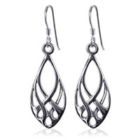 925 Plain Sterling Silver Endless Knot Design Fish Hook Dangle Earrings #LWES022