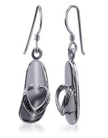 925 Sterling Silver Flip Flop French Hook Dangle Earrings